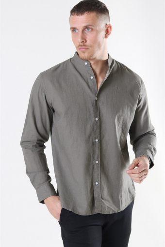 Clean Cut Cotton Linen Mao Shirt Dusty Green