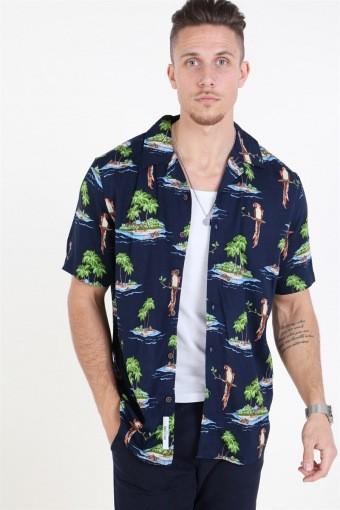 Sid SS Reg AOP Viscose Shirt Re Dark Navy