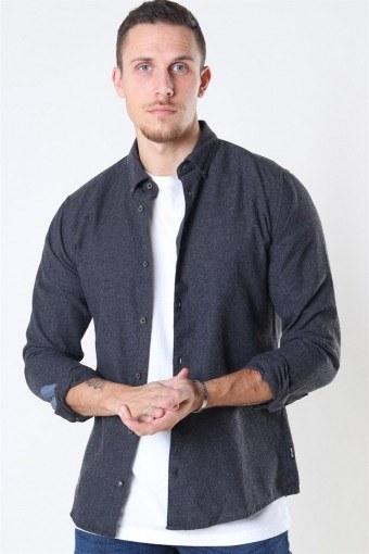 Edin LS Flannel Twill Shirt Black