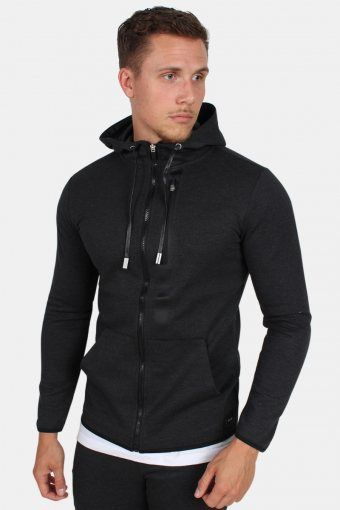 Vinn Zip Hood Sweatshirts Dark Grey Melange