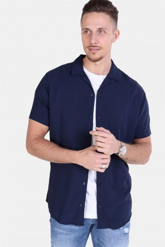 Randy Resort Shirt S/S Solid Navy Blazer