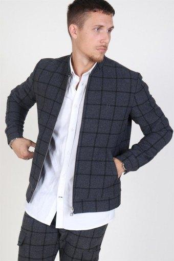 Como Wool Check Bomber jacket Charcoal/Black