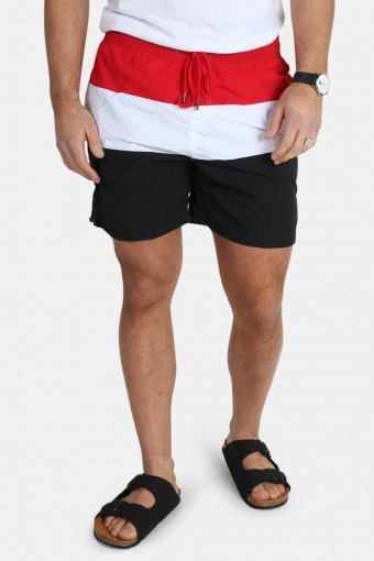 Color Block Badeshorts Black/Firered/White