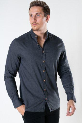 Dean Diego Cotton henley shirt Dark Grey