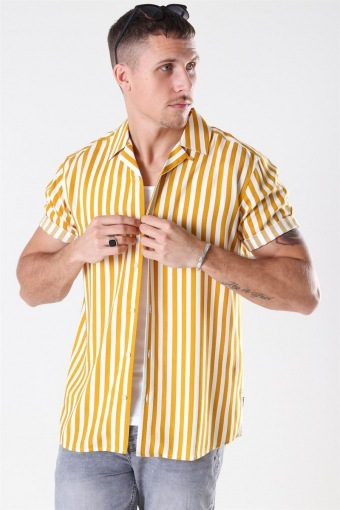 Wayne Striped Viscose Shirt Golden Spice