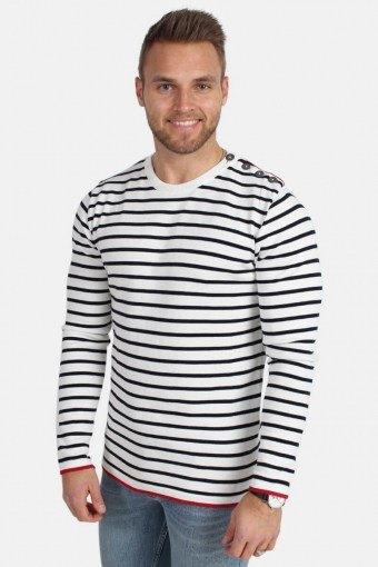 Oscar Stripe Knit Off White/Navy