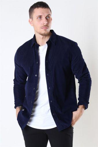 Reg Henley Fløjls Shirt LS Maritime Blue