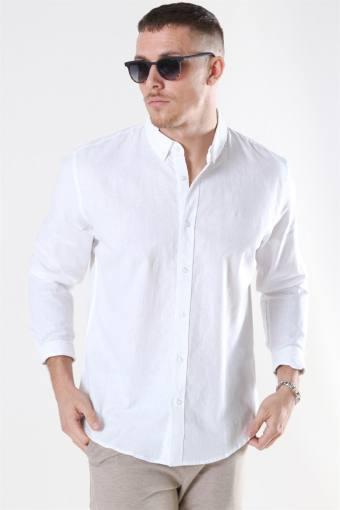 Clean Cut Cotton Linen Shirt White