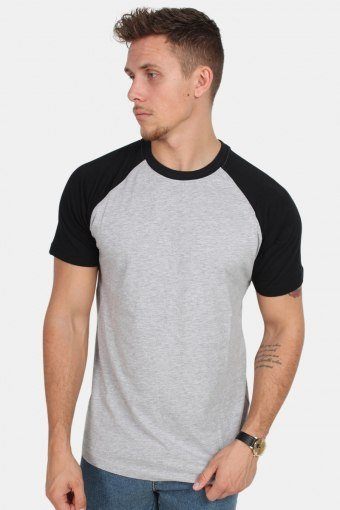 TB639 Raglan Contrast T-shirt Grey/Black