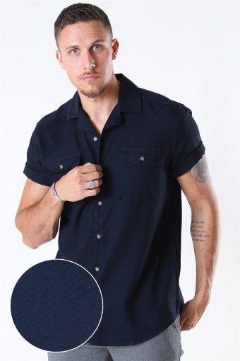 Andrew Waffle Shirt S/S Dark Navy