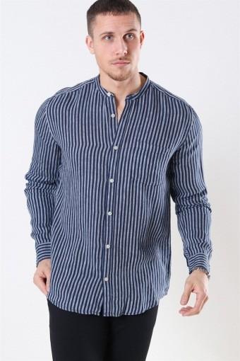 Luke LS Linen Mandarine Shirt Dress Blues/White Stripes