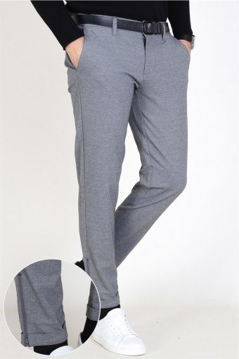 Mark Zip Pants Medium Grey Melange