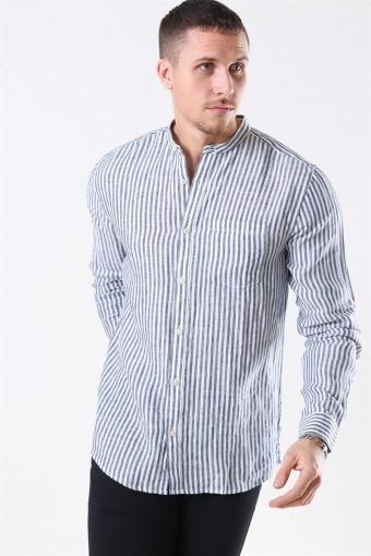 Luke LS Linen Mandarine Shirt White/Blue Stripes