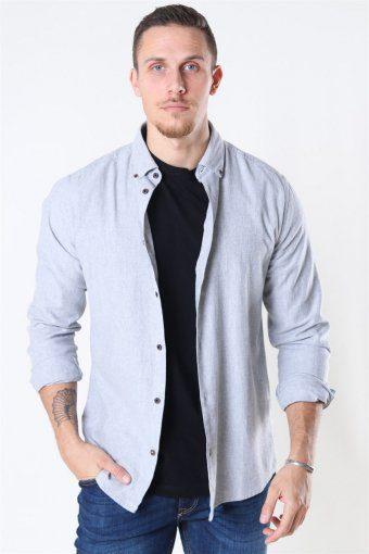 Edin LS Flannel Twill Shirt Medium Grey Melange