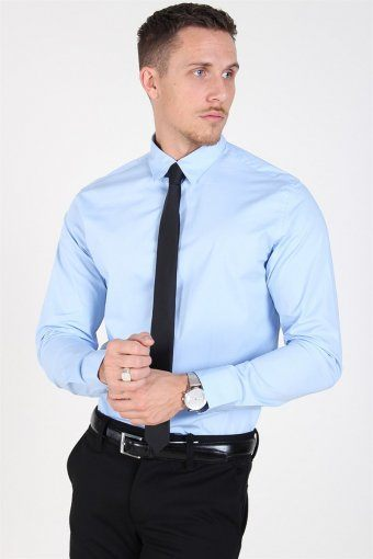 Slim-Michigan LS Shirt Light Blue