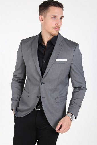 Slim-MyloLogan Blazer Dark Grey StructKelloe
