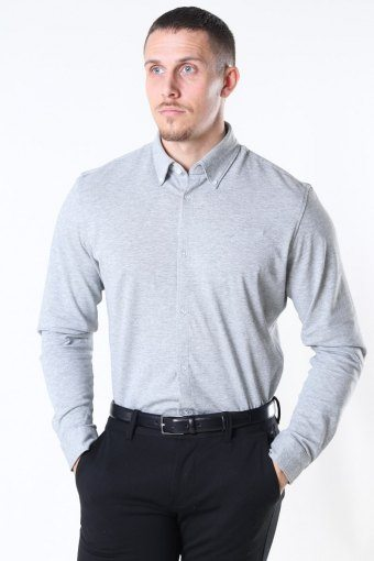 Slim Oliver Knit Flex Shirt LS Medium Grey Melange