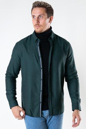Johan Herringbone flannel shirt Bottle Green