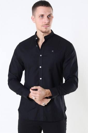 Clean Cut Oxford Stretch Mao L/S Shirt Black