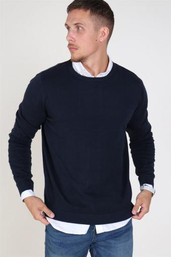 Basic Knit Crew Neck Navy Blazer