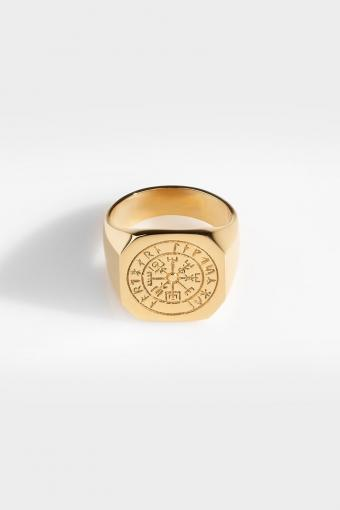 Oversize Vegvisir Ring Gold
