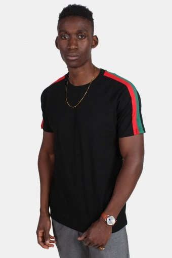 Urban Classic TB2059 Stripe Shoulder Raglan T-shirt Black/Firered/Green