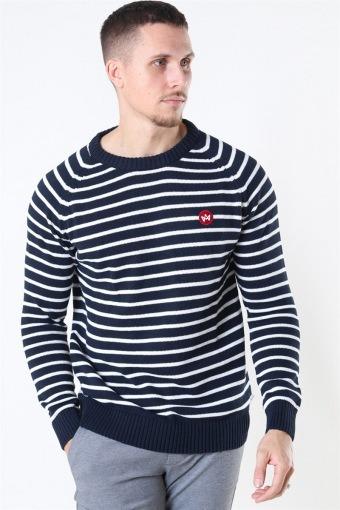 Liam Recycled Cotton Striped Strik Navy/White