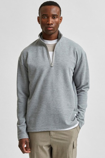 SLHRELAXDREW LS HIGH NECK SWEAT G Light Grey Melange