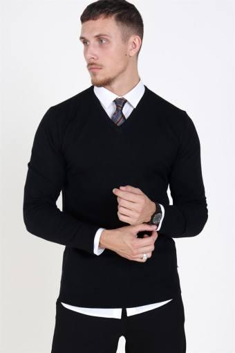 Johannes  Merino V-neck Knit Black
