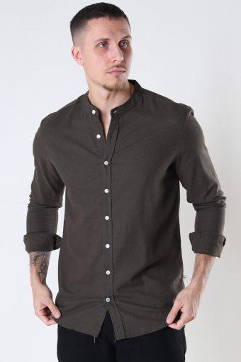 Johan Linen henley shirt Army