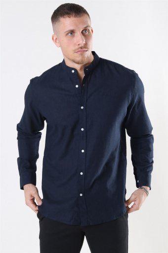 Clean Cut Cotton Linen Mao Shirt Navy