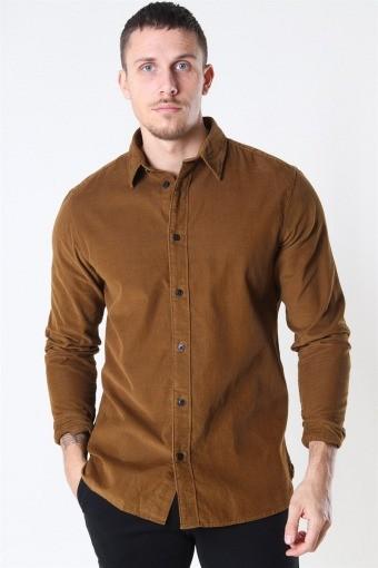 Reg Henley Fløjls Shirt LS Breen