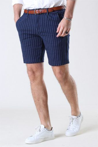 Giles Stripe Shorts Navy