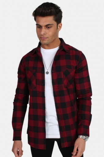 TB297 Checked Flanell Shirt Black/Burgundy