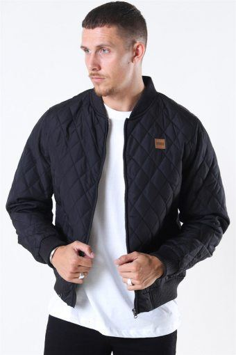 Diamon Quilt Nylon Jacket Black