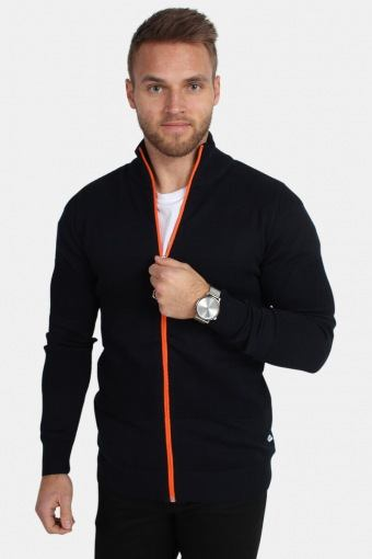 Jacob Zip Knit Navy/Orange