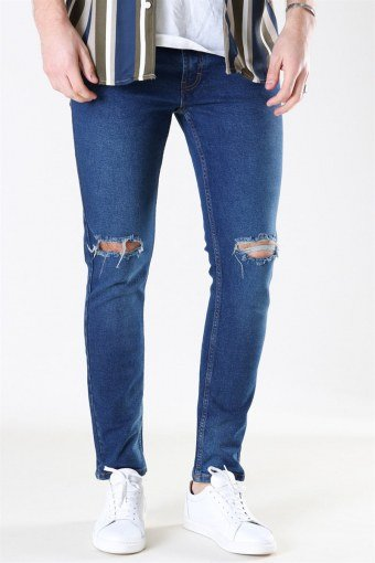 Mr. Red Knee Cut Jeans Dark Blue