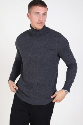 Jack & Jones Emil Rullekrave Knit Dark Grey Melange
