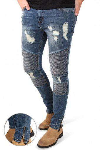 Malle Biker Zip Jeans Mid Blue