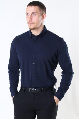 Slim Oliver Knit Flex Shirt LS Dark Sapphire