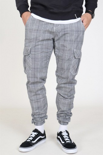 Glencheck Cargo Pants White/Black