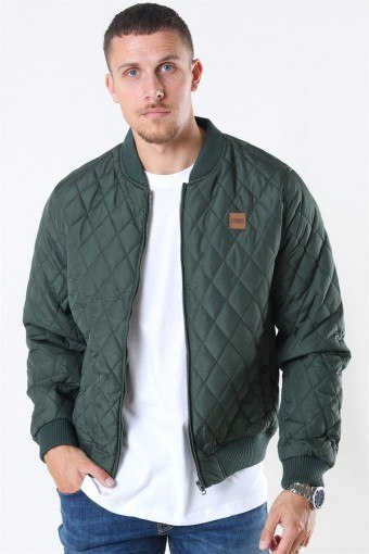 Diamond Quilt Nylon Jacket Olive
