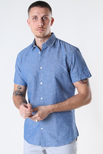 SLHSLIMNEW-LINEN SHIRT SS CLASSIC W Medium Blue Denim