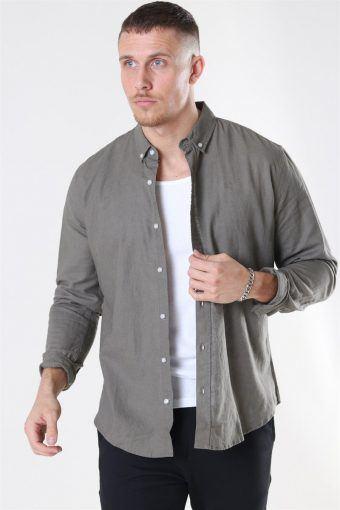 Clean Cut Cotton Linen Shirt Dusty Green