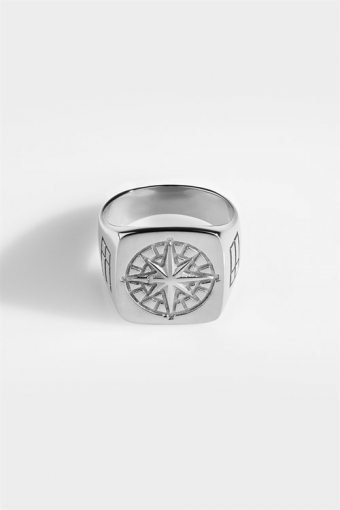 Oversize Compass Rengas Silver