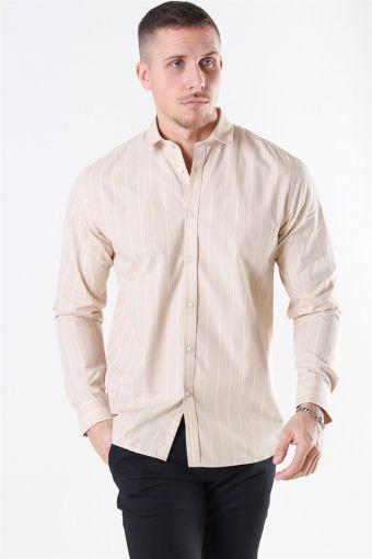 Ramon Stripe Shirt Khaki/ White