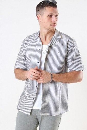 Simon Linen SS Shirt Dark Navy/Off White