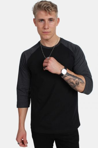 TB366 Contrast 3/4 Sleeve Raglan T-shirt Blk/Cha