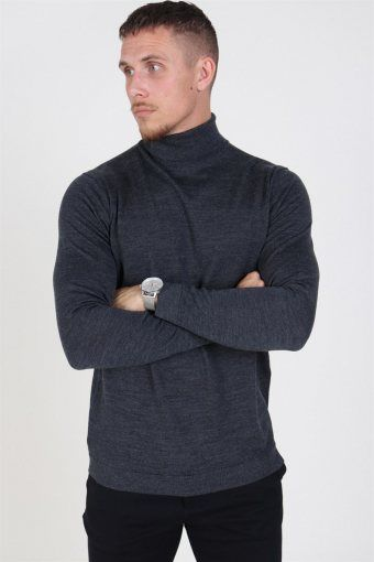 Merino Rullekrave Knit Medium Grey Melange