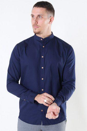Johan Herringbone Cotton Henley Shirt Navy